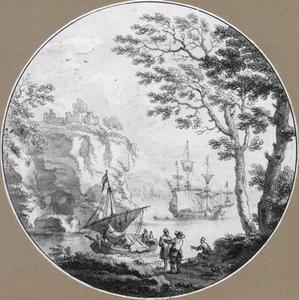 Rotsachtig kustlandschap met schepen en figuren