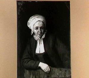 Een boerenvrouw, leunend over een onderdeur