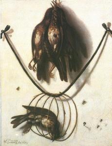 Trompe l'oeil stilleven van zangvogels