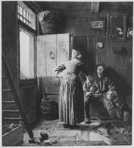 Interieur met visser en koffie schenkende vissersvrouw