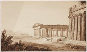 De ruïnes van de drie Griekse tempels in Paestum 1834