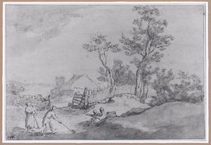 Landschap met boerderij en kolf spelende boeren