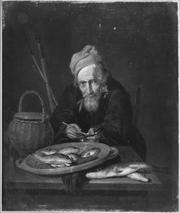 Visstilleven met een zittende man bij de tafel