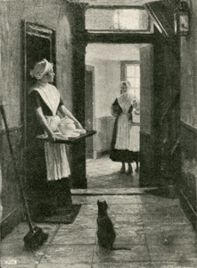 Drie weesmeisjes in de hal