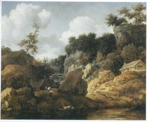 Berglandschap met enkele hutten, in de verte en rechts een waterval