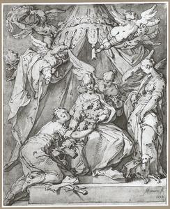 Het mystieke huwelijk van de Heilige Catharina van Alexandrië en dat van de Heilige Agnes