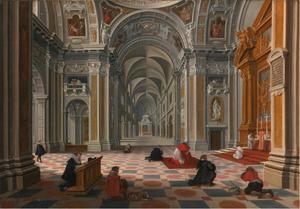 Kerkgangers bij een misviering in een kapel van de Santa Maria Maggiore in Rome