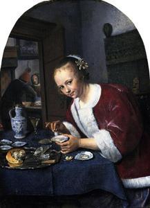 Meisje dat oesters eet