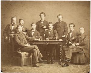 Groepsportret met Roeland Anthonie Kollewijn (1857-1942)