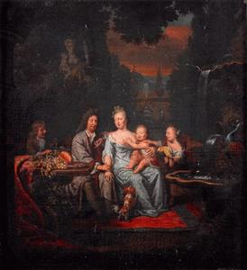 Zelfportret van Michiel van Musscher (1645-1705) met zijn familie