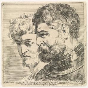 De hoofden van twee soldaten