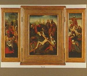 De kruisdraging met de H. Veronica (linkerluik); Christus wordt aan het kruis genageld (middenpaneel); De kruisafneming (rechterluik)