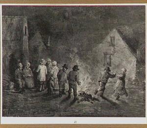 Dansend paar en boeren bij een vuur