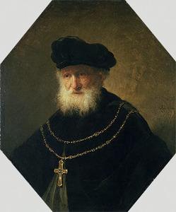 Borststuk van een oude man met een gouden ketting met een kruis