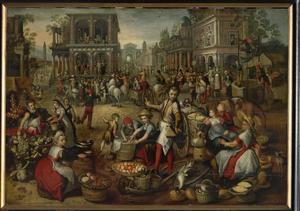 Marktplein met in de achtergrond de geseling, Ecce Homo en de kruisdraging