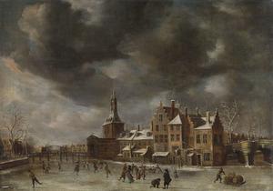 De Blauwpoort in Leiden in de winter