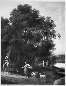 Landschap met een ruiter in gesprek met een wasvrouw bij een bosrand langs een water; op de achtergrond jagers