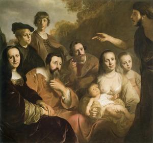 Familiegroep met de prediking van Johannes de Doper