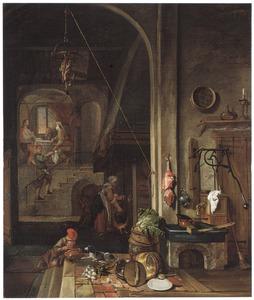 Keukeninterieur met op de achtergrond de maaltijd te Emmaus
