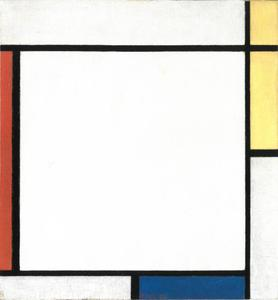 Composition with yellow, red, and blue