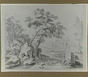 Arcadisch landschap met herders en schapen