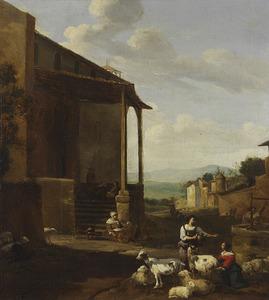 Herders en vee rustend bij een huis