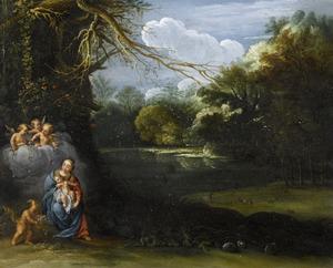 Maria met kind en engelen in een landschap