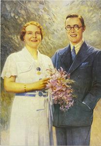 Dubbelportret van de latere koningin Juliana (1909-2004) met prins Bernhard (1911-2004)