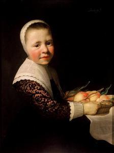 Portret van een meisje met perziken