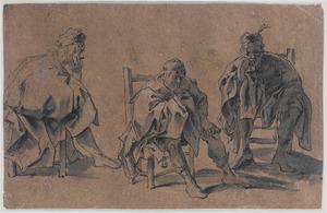 Drie studies van een zittende man, zijn kin rustend op zijn recherhand