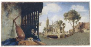 Gezicht op Delft met de Nieuwe Kerk en het Vrouwenrecht
