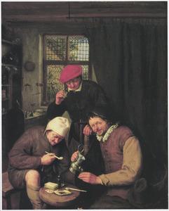 Drie boeren roken en drinken in een herberg