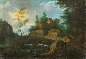 Boslandschap met huizen en een waterval