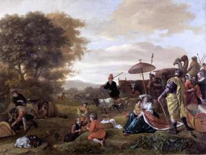 Laban zoekt de door Rachel gestolen terafim (Genesis 31:33-34)