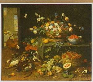 Interieur met een stilleven van bloemen, vruchten en gevogelte met een hond, kat en cavia