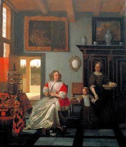 Interieur met een breiende vrouw en een dienstmeid met een meisje aan de hand