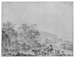 Bergachtig landschap met herders en vee in een doorwaadbare plaats