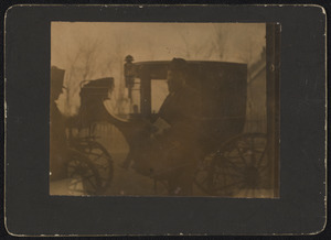 Portret van een man bij een koets