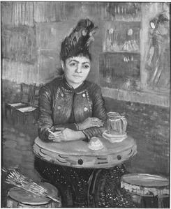 Vrouw zittend in het café du Tambourin