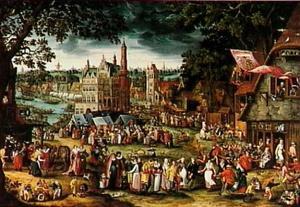 Dorpskermis, in het midden het stadhuis van Oudenaarde