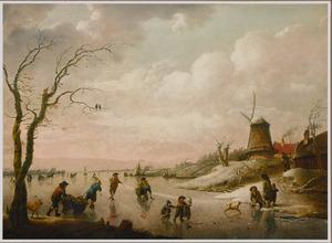 Winterlandschap met ijsvermaak op een rivier bij een windmolen