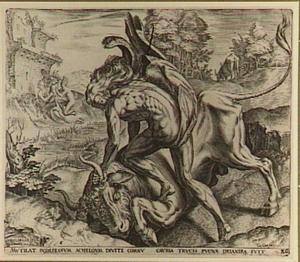 Hercules vecht met de riviergod Achelous in de gedaante van een stier