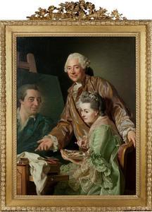 Zelfportret met de echtgenote van de kunstenaar, Marie Suzanne Giroust een prortret van Hedrik Wilhelm Peill schilderend