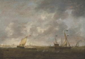 Vloot van Zeeland op de Merwede met Dordrecht in de achtergrond