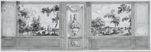 Zijwand met twee behangselvlakken met een landschap ter weerszijden van een tussenstuk met classistische urn en twee zijstukken