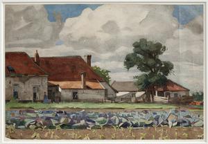 Landschap met rode koolveld en boerderij