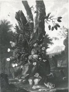 Bosstilleven met bloemen, distel en schedel van knaagdier