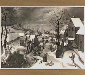 Winterlandschap met de kindermoord in Bethlehem