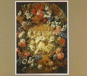 Uitbeelding van pinksteren omringd door een krans van bloemen