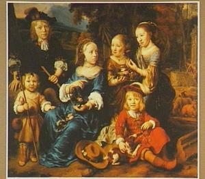 Familieportret van Geertruid Machteld Tolling (1655-1681), Aleida Johanna Tolling (?-1682), Aegidius ('Gillis') Tolling (1658-1741), Catharina Tolling (1659-1744), Paulus Tolling (1663-1670) en Petrus Tolling (1664-1680), kinderen van Altetus Tolling (?-1691) en Aleid Louwsen genaamd Buys (?-?) in historiserend herderskostuum in een landschap